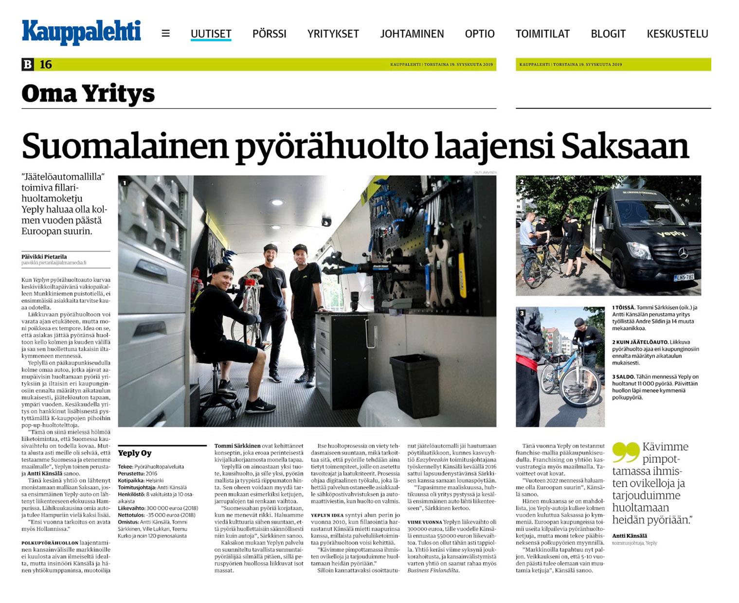 Kauppalehti article